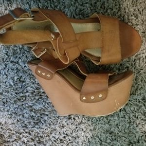 Brown wedge shoes size 6.5